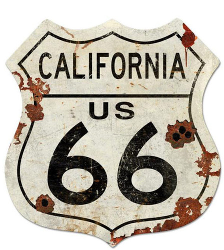 Route California US 66 Shield Metal Sign 40 x 42 Inches