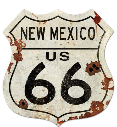 Route New Mexico US 66 Shield Metal Sign 40 x 42 Inches