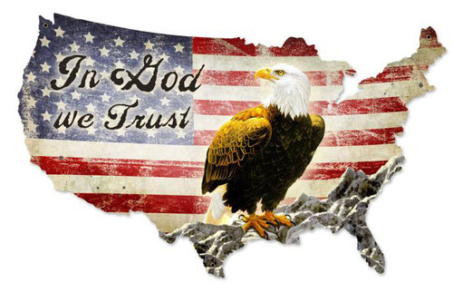 In God We Trust USA Custom  Shape Metal Sign 50 x 32 Inches