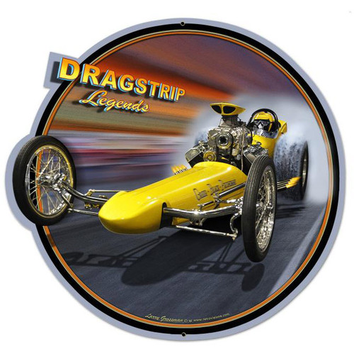 Dragster Legends Custom Shape Metal Sign 28 x 28 Inches