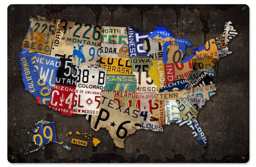 Retro License Plate USA Board Metal Sign 24 x 16 Inches