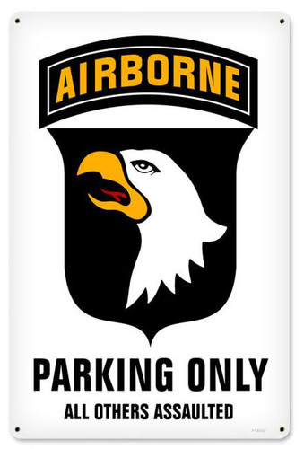 Retro 101st Airborne Parking Metal Sign 12 x 18 Inches