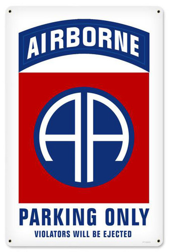 Retro 82nd Airborne Parking Metal Sign 12 x 18 Inches