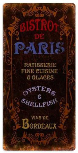 Retro Bistrot Paris Metal Sign 18 x 36 Inches