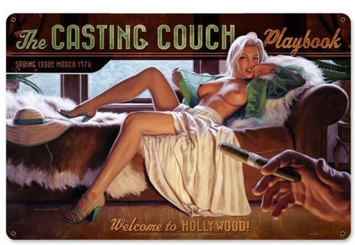 Casting Couch Pinup Metal Sign 18 x 12 Inches