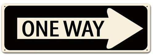 One Way Metal Sign 24 x 8 Inches