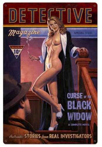 Detective Magazine Black Widow Metal Sign 24 x 36 Inches