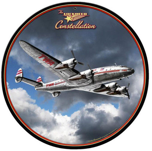 Lockheed Constellation  Round Metal Sign 14 x 14 Inches