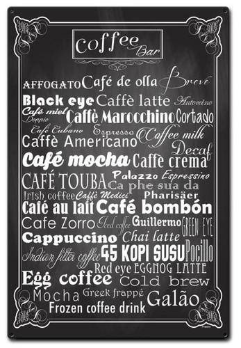 Coffee Bar Diamond Metal Sign 16 x 24 Inches