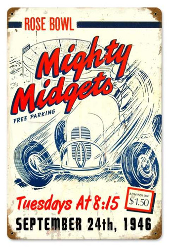 Vintage Mighty Midgets Metal Sign 12 x 18 Inches