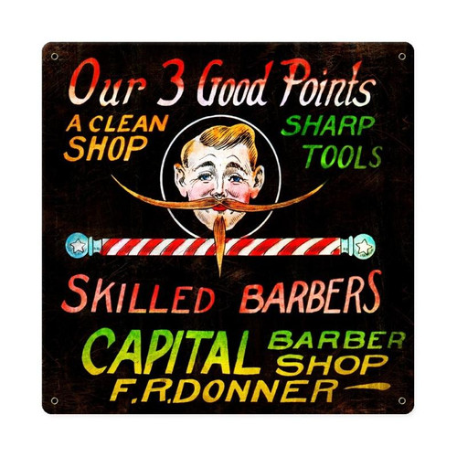 Good Points barber Shop Vintage Metal Sign 12  x 12 Inches