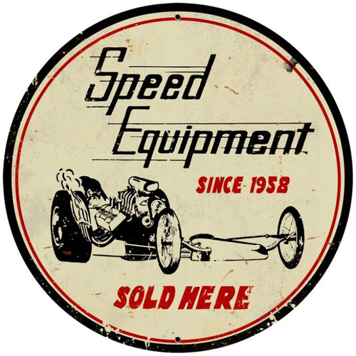 Retro Speed Equipment Round Metal Sign 28 x 28 Inches