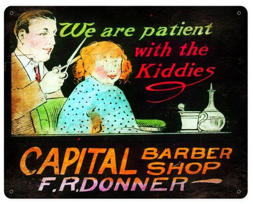 We Are Patient barber Shop Vintage Metal Sign 15  x 12 Inches