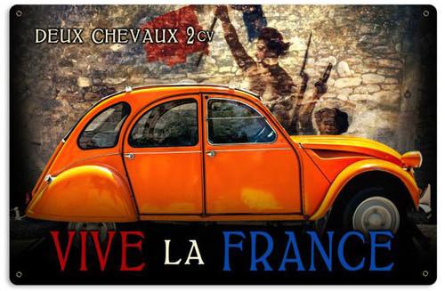 Deux Chevaux Vintage Metal Sign 36  x 24 Inches
