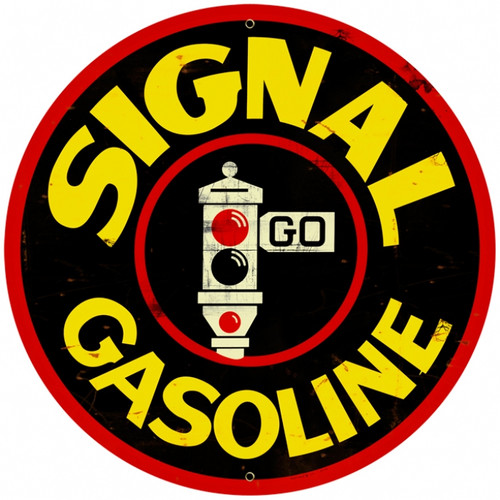 Retro Signal Gasoline Round Metal Sign 28 x 28 Inches