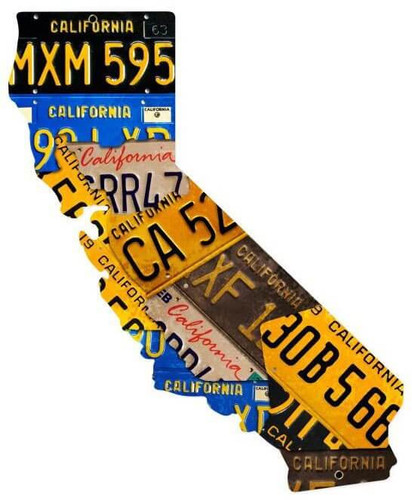 California License Plate State Custom Shape Metal Sign 20  x 16 Inches
