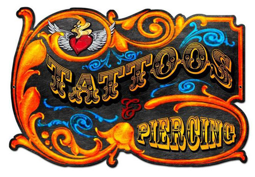 Tattoos And Piercings Custom Shape Metal Sign 24  x 14 Inches