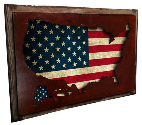 3d Usa Map Display Retro 3D Metal Sign 18  x 12 Inches
