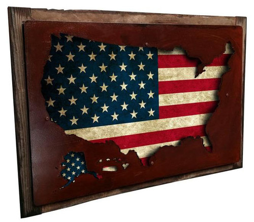 Usa Map Display 3D Layered Metal Sign 24  x 16 Inches