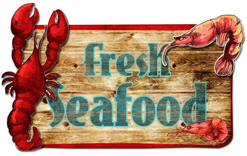 Fresh Seafood 3d Vintage Metal Sign 26  x 14 Inches