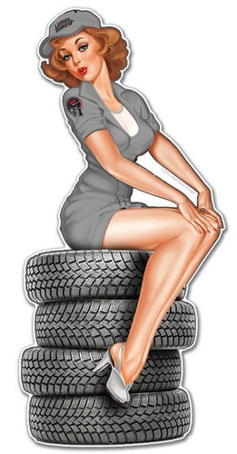 Retro Plasma Tire Babe Metal Sign 12 x 24 Inches