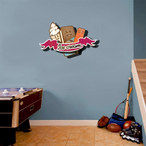 Retro Ice Cream 3D Layered Sign 24 x 16 Inches