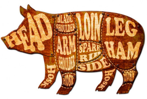 Pig Meat Chart 3D Metal Sign 24 x 14 Inches