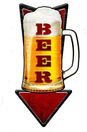 Cold Beer Arrow 3D Metal Sign 10 x 24 Inches