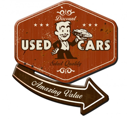 30's USED CAR 3-D Metal Sign 24 x 24 Inches