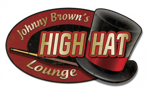 Retro High Hat Lounge 3D Metal Sign - Personalized 22 x 14 Inches