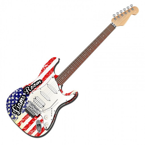 Fender Strat Flag 3D Metal Sign - Personalized 30 x 9 Inches