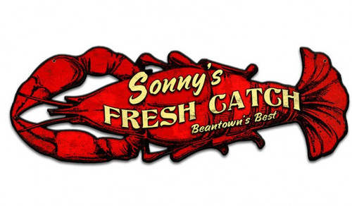 Fresh Lobster Metal Sign - Personalized 26 x 8 Inches