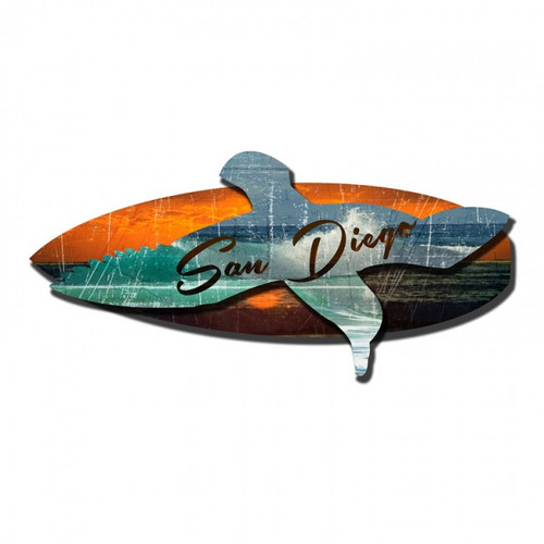 San Diego Sea Surf 3D Metal Sign 24 x 10 Inches