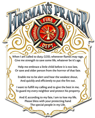 Firemans Prayer Metal Sign 12 x 16 Inches
