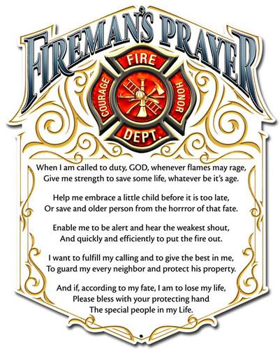 Firemans Prayer Metal Sign 12 x 16 Inches
