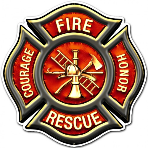 Fire Rescue Emblem Metal Sign 16 x 16 Inches