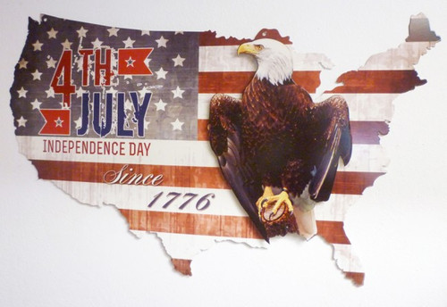 4th of July USA 3D Metal Sign 35 x 21 Inches