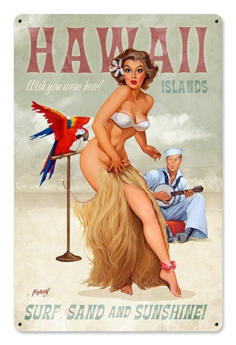 Hawaii Islands Pinup Girl Metal Sign 12 x 18 Inches