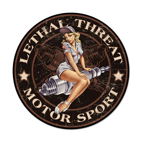 Retro Spark Plug Pinup Metal Sign 42 x 42 Inches