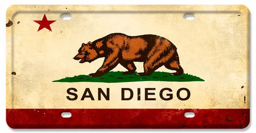 California Flag San Diego License Plate  12 x 6 Inches