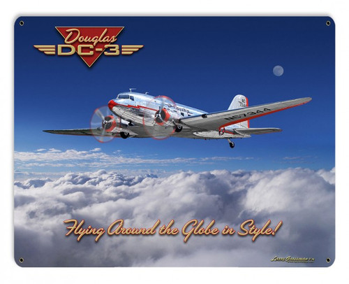 Dc-3 Airplane Metal Sign 15 x 12 Inches