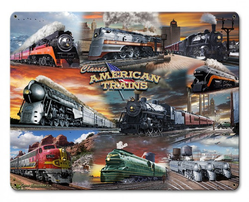 Collage Trains Metal Sign 15 x 12 Inches