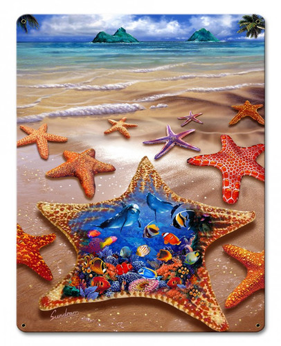 Starfish Shore Metal Sign 12 x 15 Inches