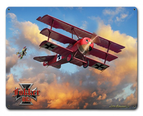 Fokker Tri-plane Metal Sign 15 x 12 Inches