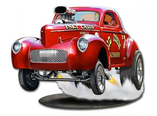 1940 Willys Big John Gasser Metal Sign 15 x 12 Inches