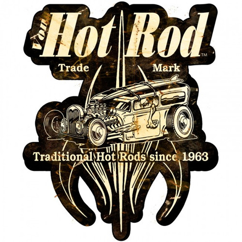 Von Hot Rod Surf Shop Metal Sign 16 x 16 Inches
