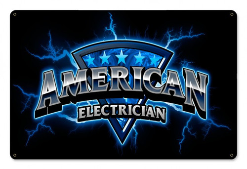 American Electrician Metal Sign 18 x 12 Inches