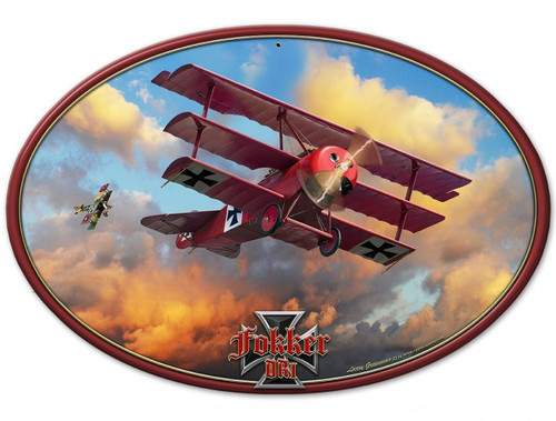 Fokker Tri-plane Metal Sign 18 x 12 Inches