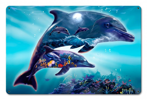 Dolphin Aqua Universe Metal Sign 18 x 12 Inches