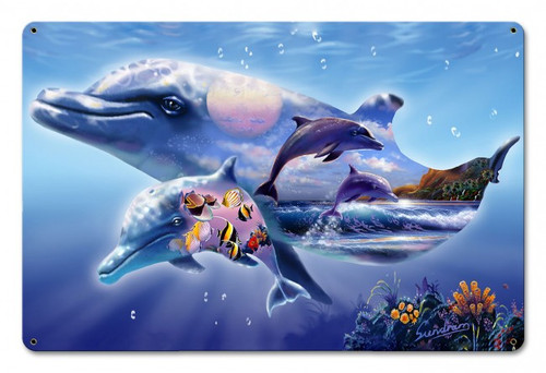 Dolphin Kingdom Metal Sign 18 x 12 Inches